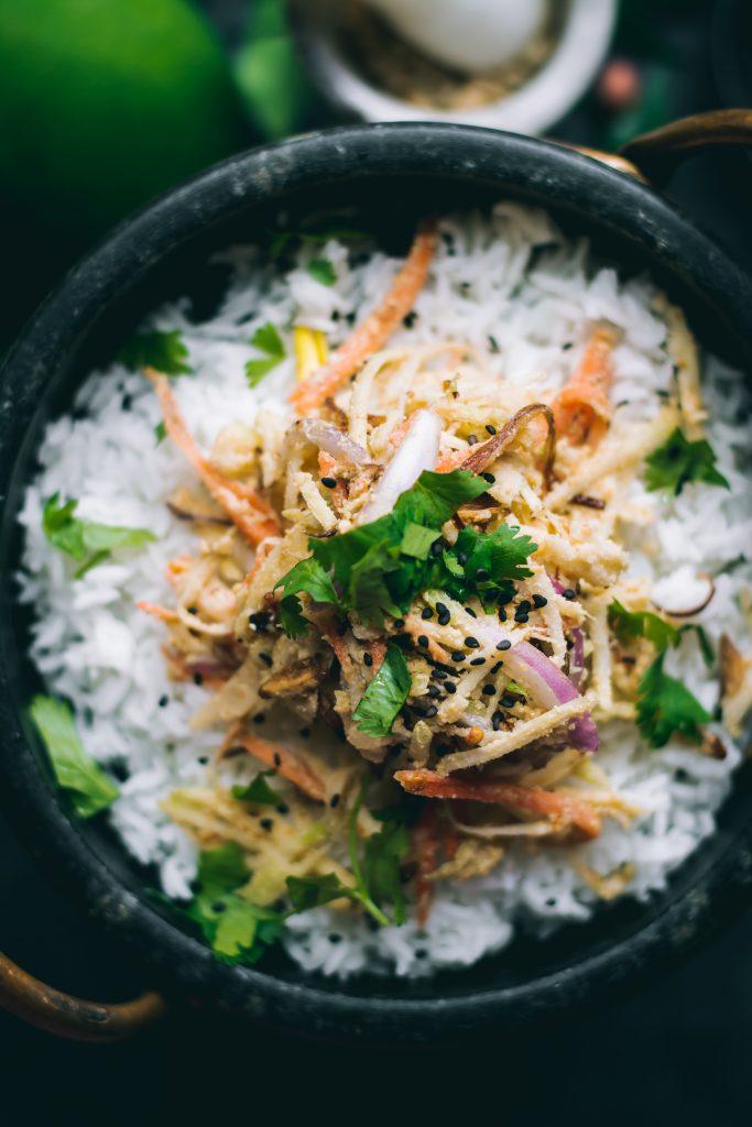 Thayat Thee Thoke - Burmese Green Mango Salad on rice