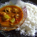 Snake gourd curry stuffed with minced meat