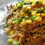 Onion Pulao with corn and peas