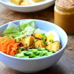 Thai Tofu Salad with a Spicy Peanut and coconut curry Dressing