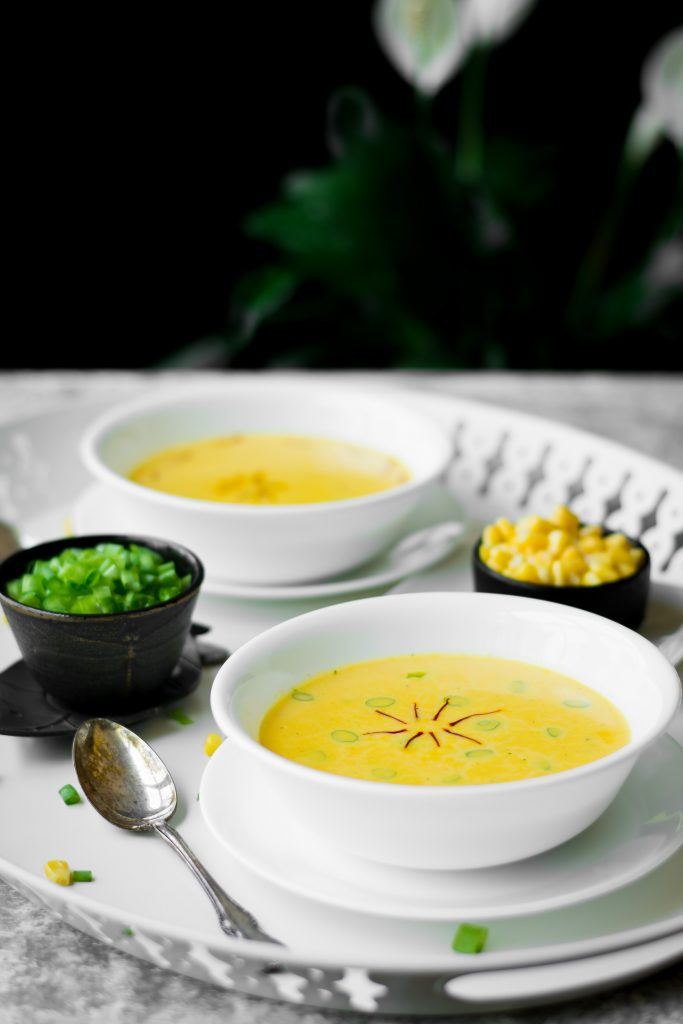 Brighten your day with this Molten Sunshine soup made with Bell Peppers, Corn and Saffron. Easily made Vegan.