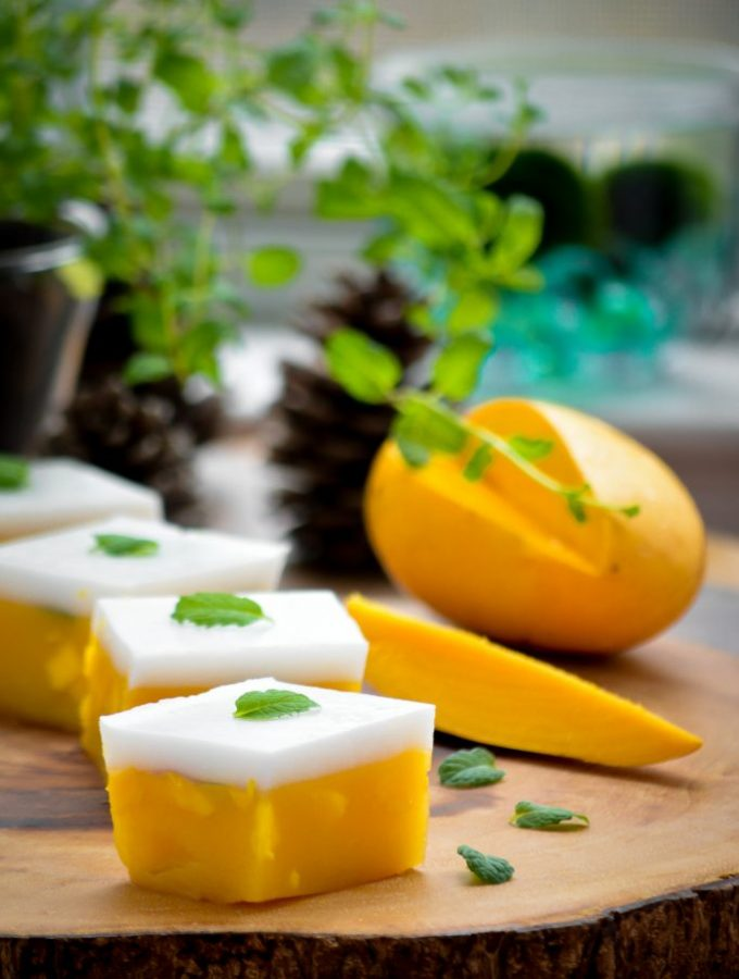 A popular Asian dessert, this Mango and Coconut Jelly is refreshing & delicious, besides being VEGAN & Gluten-Free, thanks to the Agar agar!