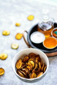 Try these Baked Plantain Chips for a quick and healthier snack, topping or side.