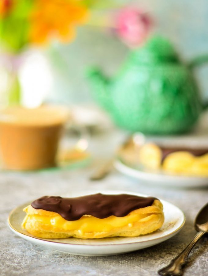 Find guilt-free indulgence in these Low fat Chocolate Eclairs for two - the vanilla custard filling is made with 2% milk and makes just a small batch to serve two!