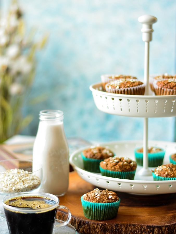 These VEGAN Banana Muffins (Gluten-free) made with oats flour & flaxseed 'egg' make an excellent fiber-rich breakfast to kick-start your day!