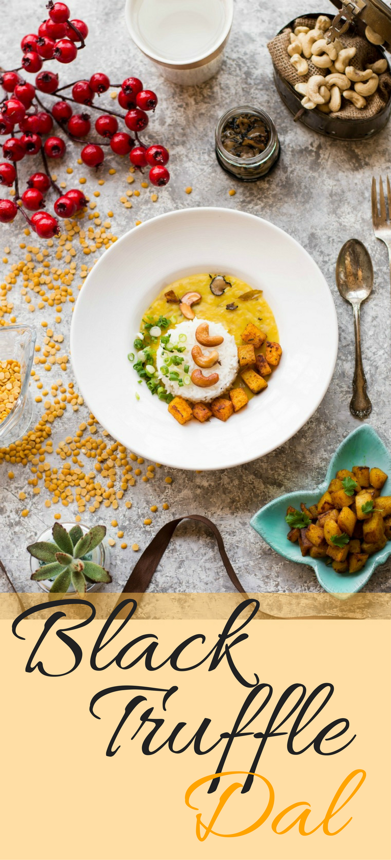 Transform the quintessential Indian comfort food, Rice and Dal into a gourmet indulgence with Black Truffle slices - Black Truffle Dal! #indian #indianfood #indianfusion #fusionfood #lentil #dal