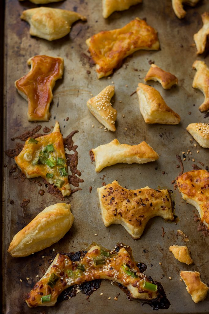 Don't throw away Leftover Puff Pastry bits! Instead upcycle them into these dainty savory/sweet hors d'oeuvres!