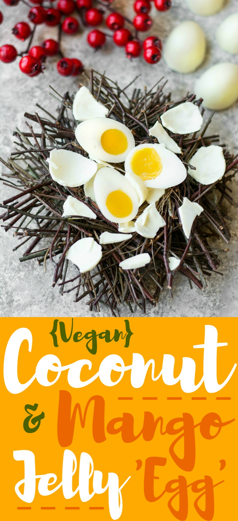 Try this almost Vegan Coconut Mango Jelly Easter 'Egg' made with coconut 'white' & mango 'yolk' complete with a white chocolate shell!