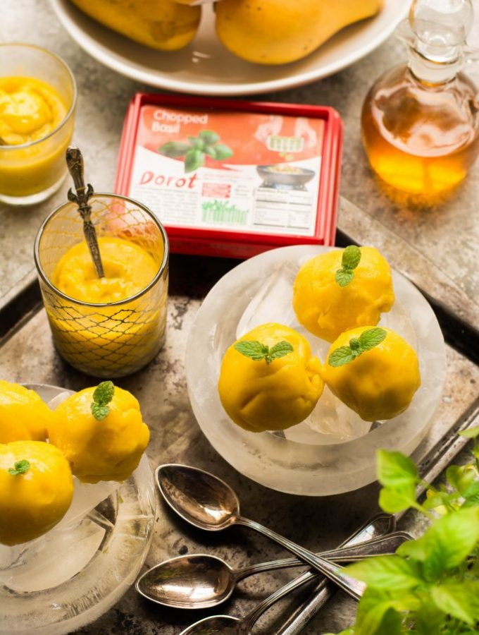 This Quick 'n' Easy Mango Basil Sorbet needs just 3 ingredients and is near-instant (ready to eat in less than an hour) - Vegan + Gluten-Free