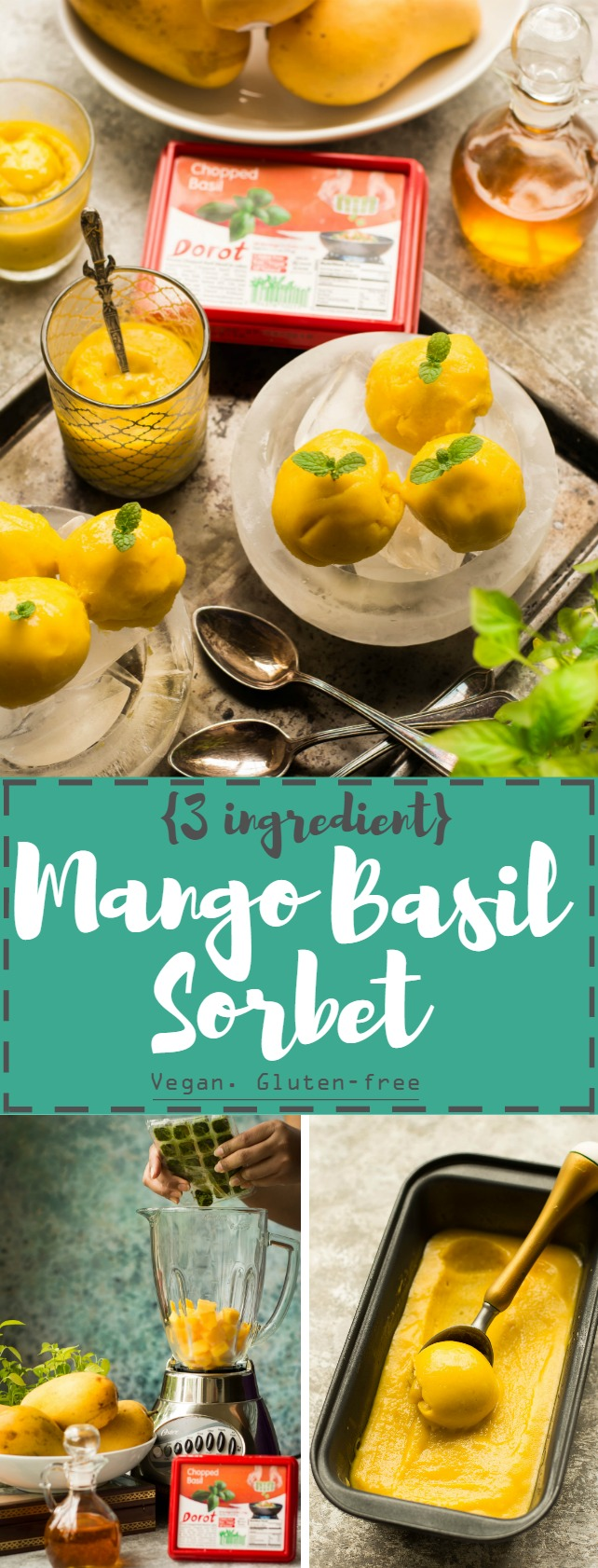 This Quick 'n' Easy Mango Basil Sorbet needs just 3 ingredients and is near-instant (ready to eat in less than an hour, thanks to Dorot Frozen herbs!) - Vegan + Gluten-Free! #ad #Dorot