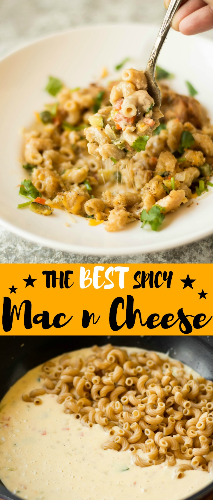 This Spicy Mac n Cheese is made with 4 kinds of cheese, veggies & flavored with Jalapeno, Cumin and Nutmeg! Not your everyday meal, people!