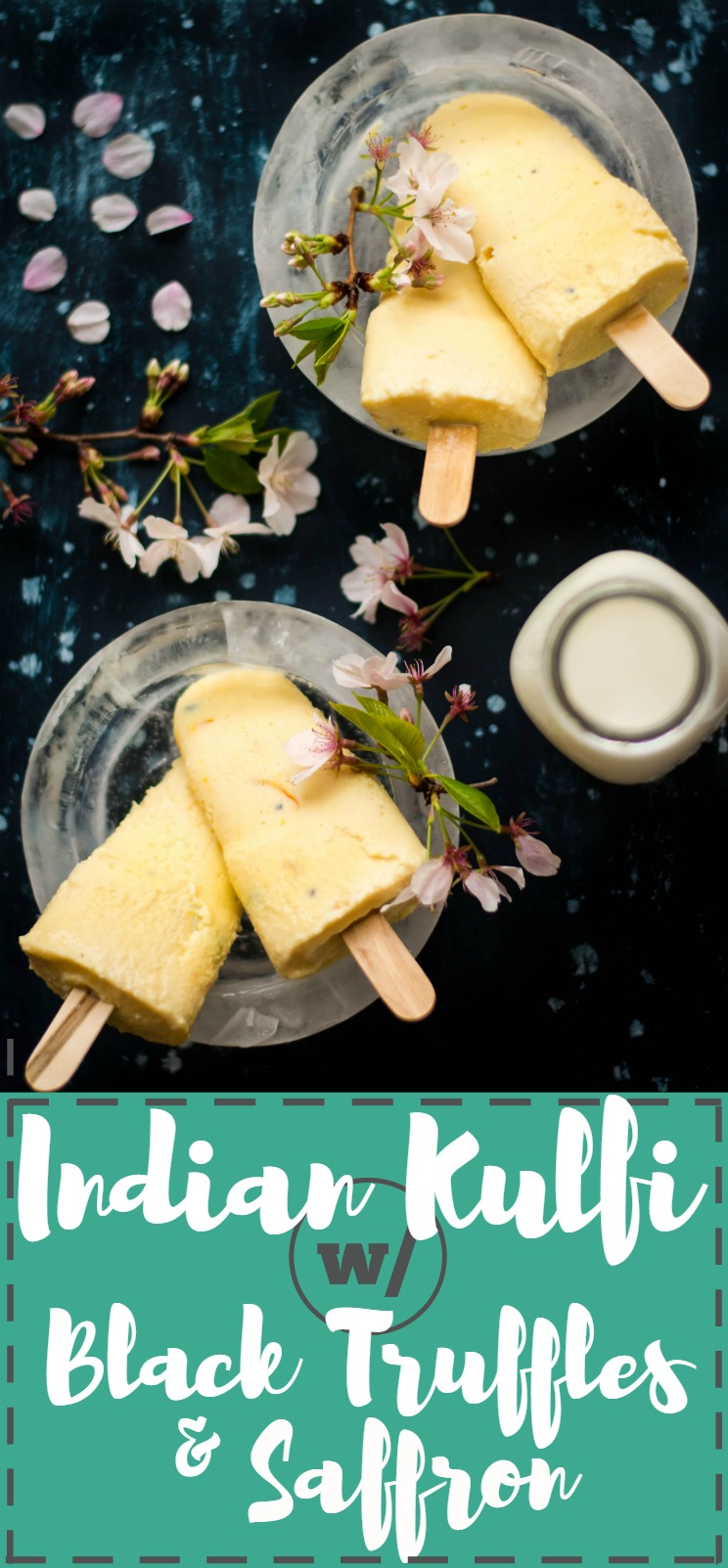 Reduced Milk, sweetened & infused with Black Truffle slices and Saffron - this Black Truffle and Saffron Kulfi is a dessert unlike any other! #vegetarian #glutenfree #dessert #indian #fusionfood #milk