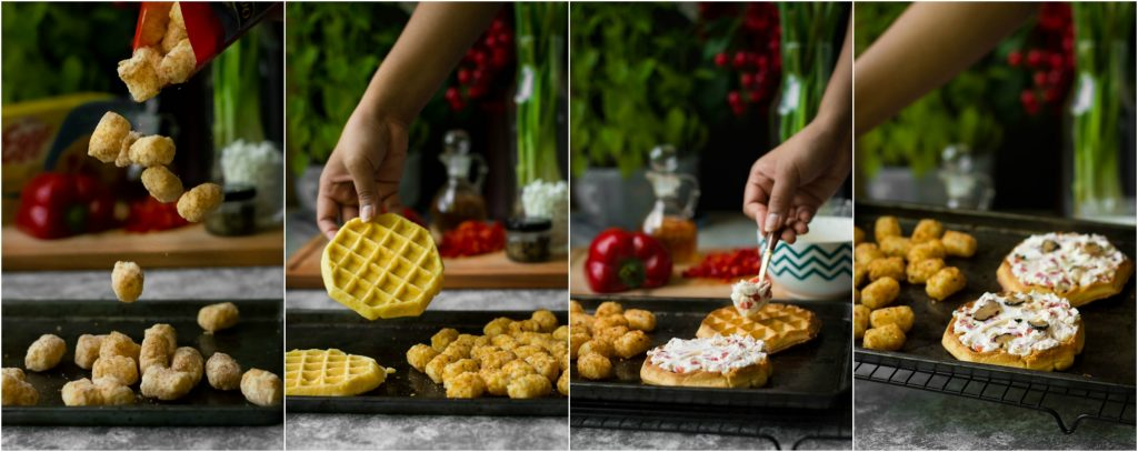 Transform your weekend with this Black Truffle,Goat Cheese and Red pepper Savory Waffles! Vegetarian. Quick. Simple. Yumm.