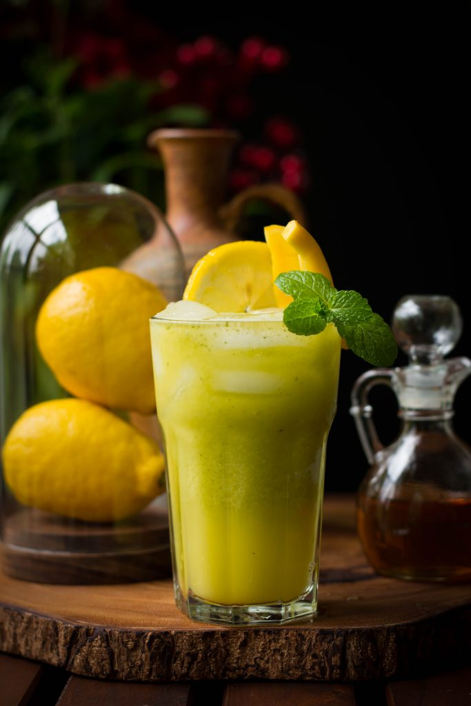 Spruce up your lemonade game this summer, by making them 4 ways: Old fashioned, Mint, Mango Basil and Ginger. Vegan. GF. Yumm!