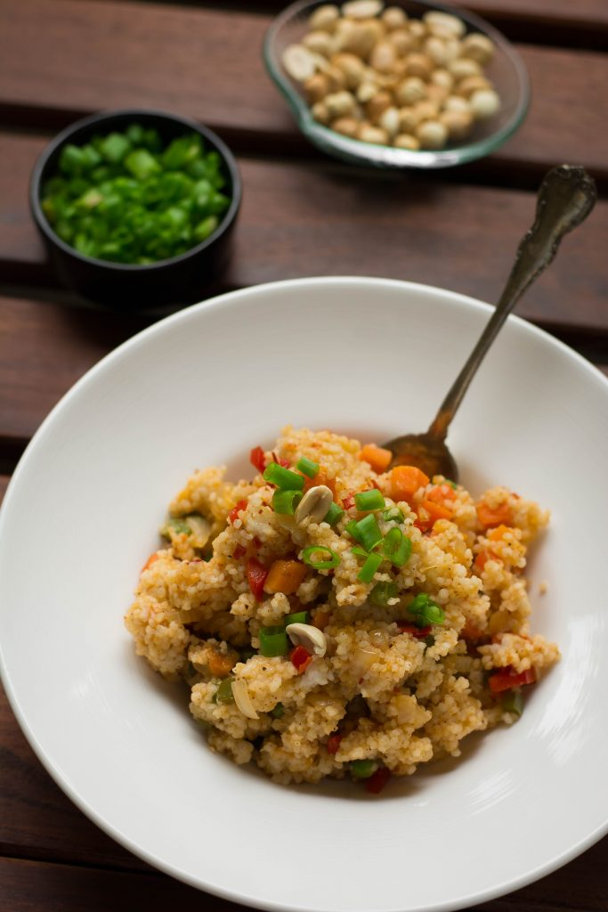 If you haven't tried barnyard millet yet, this Millet Fried rice is a great place to start! Low GI (excellent for type2 diabetes) + Vegan + Gluten-free!