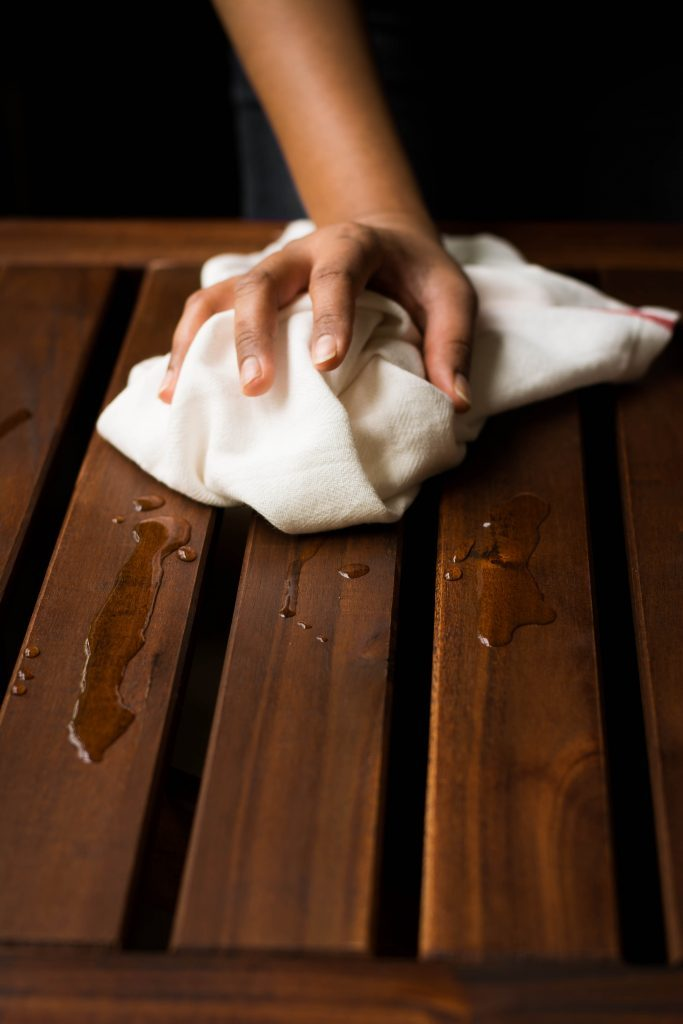A clean kitchen is an efficient kitchen. Keep a kitchen towel/cleaning rag near you to wipe up accidental spills and oil splatters as you work.