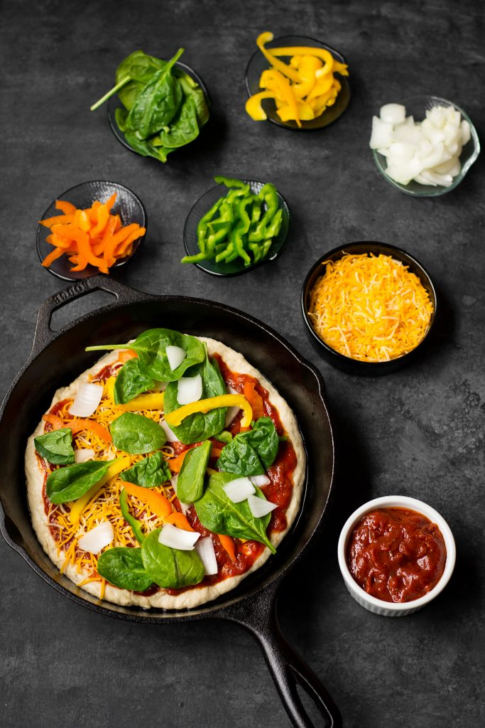VEGAN Homemade Pan Pizza - crispy crust, soft bread and a delicious sauce. Pile on your favorite toppings and make pizza night a bit more special!