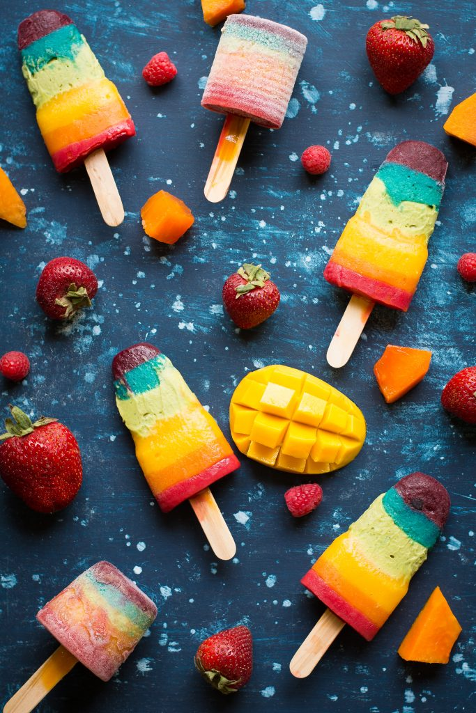 Celebrate Pride Month with these Rainbow Popsicles - full of fresh fruits, these are natural, Vegan and Gluten-free!