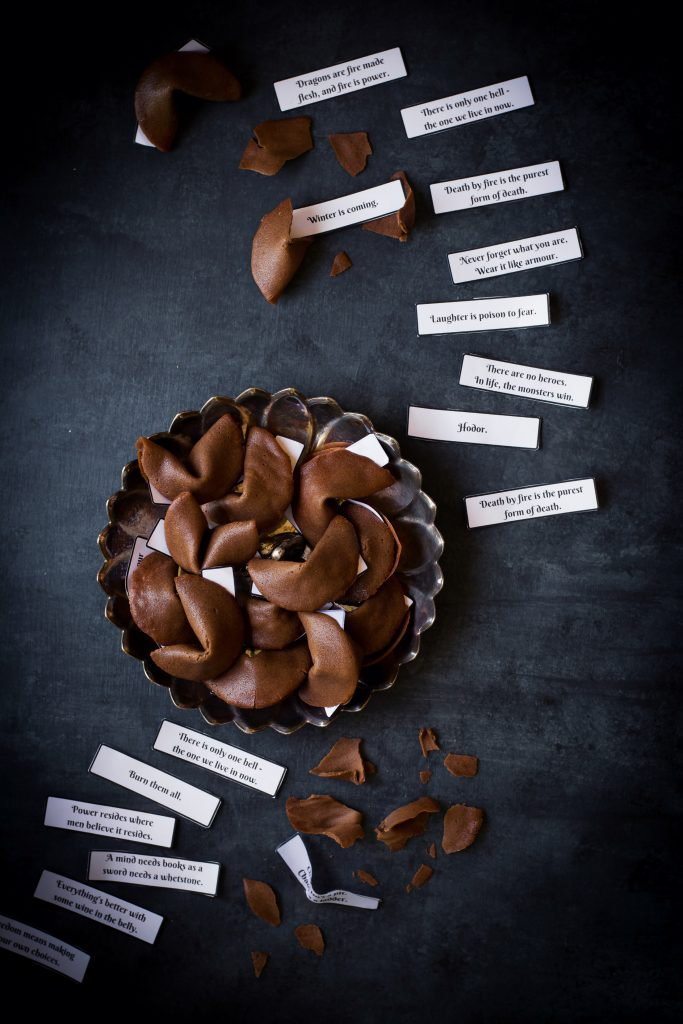 Combine the magic of fortunes with Westeros and what do you get? This Chocolate flavored Game of Thrones Fortune Cookies!