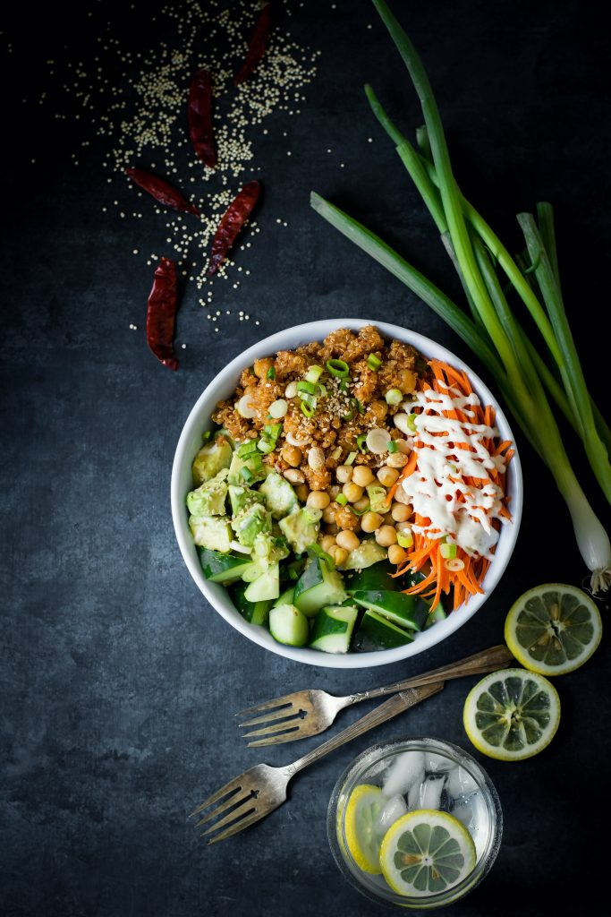 Add this Fiery Quinoa Chickpea Stir-fry to your salad bowls, lettuce wraps or just eat as is. It's hot, crunchy, juicy and delicious! lunch | dinner | quinoa bowl | vegan | vegetarian | gluten free