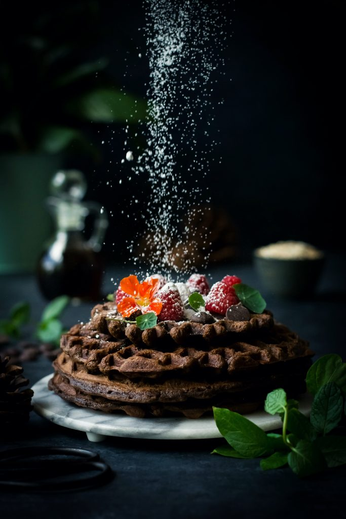 Chocolate Sweet Potato Waffles - VEGAN + Gluten-Free with the goodness of Flaxseed and Oats. Just what breakfasts should be like!