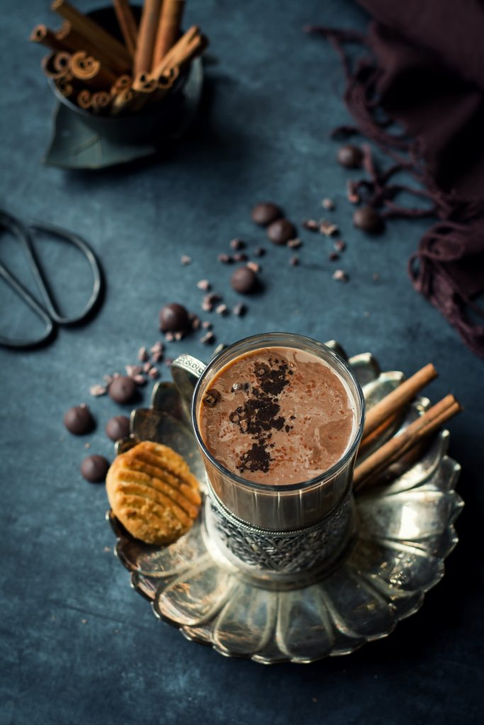 This Herbal Chocolate Tea is made with a black tea infused with 5 Ayurvedic herbs, cinnamon & cacao powder, and is a pick-me-up like no other!