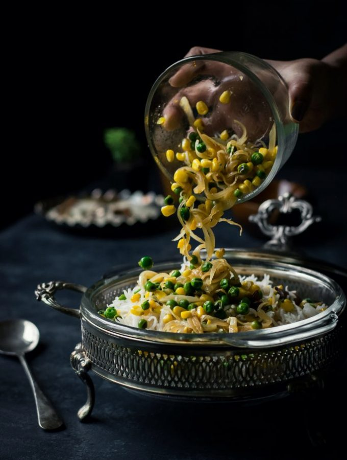 Corn and Peas Pulao is a simple, light and flavorful meal that works well with any curry on the side. VEGAN + Gluten-Free!