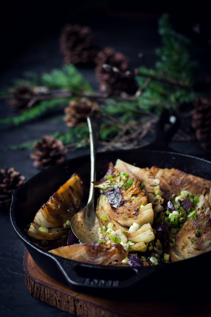 These Butter and Soy braised Cabbage quarters make a delicious yet simple vegetable side for your Sunday gatherings.