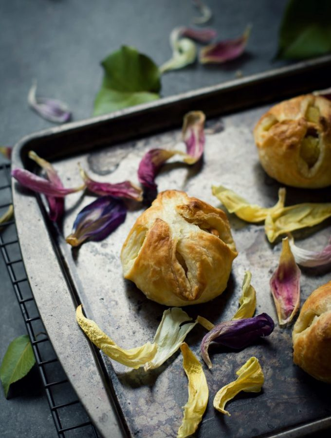 Sweetened Semolina wrapped in puff pastry makes these VEGAN Kesari Puffs the easiest dessert to put together in a jiffy! Food Photography   Food Styling