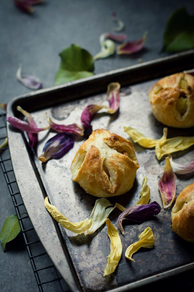 Sweetened Semolina wrapped in puff pastry makes these VEGAN Kesari Puffs the easiest dessert to put together in a jiffy! Food Photography | Food Styling