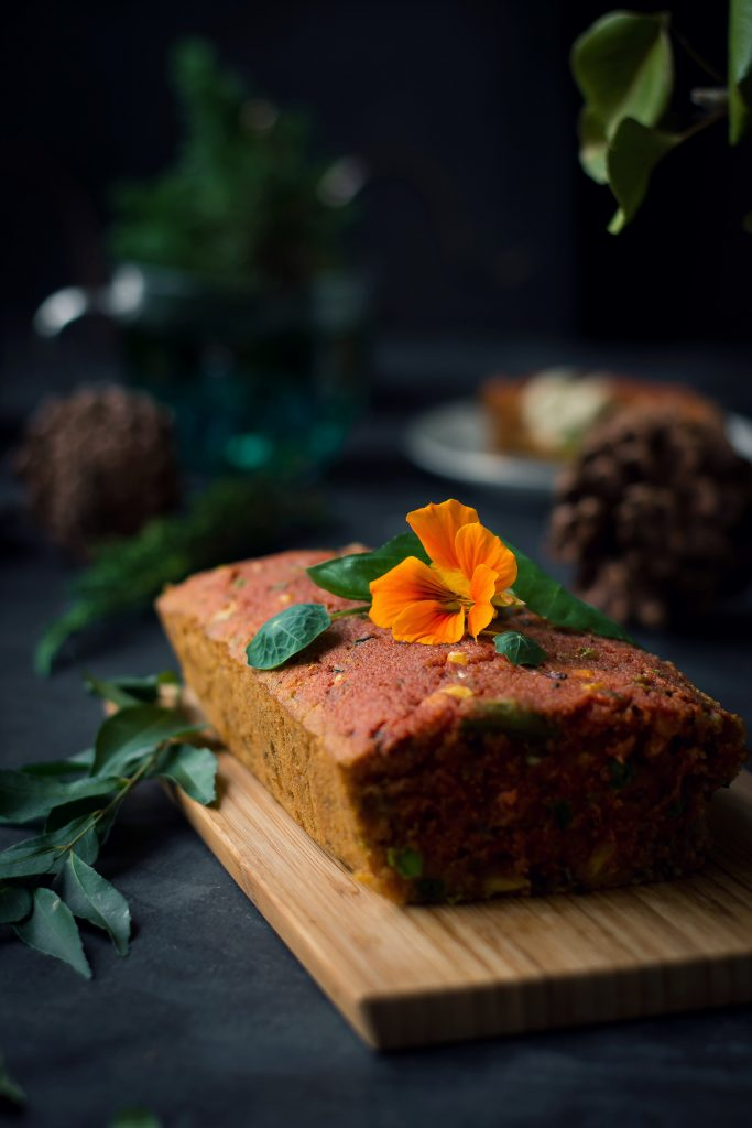 Inspired by South Indian Rava Kichadi comes this Savory Semolina Loaf -flavored with whole spices and full of vegetables. Vegan | Breakfast | Dinner | Food Photography | Food Styling | Indian food