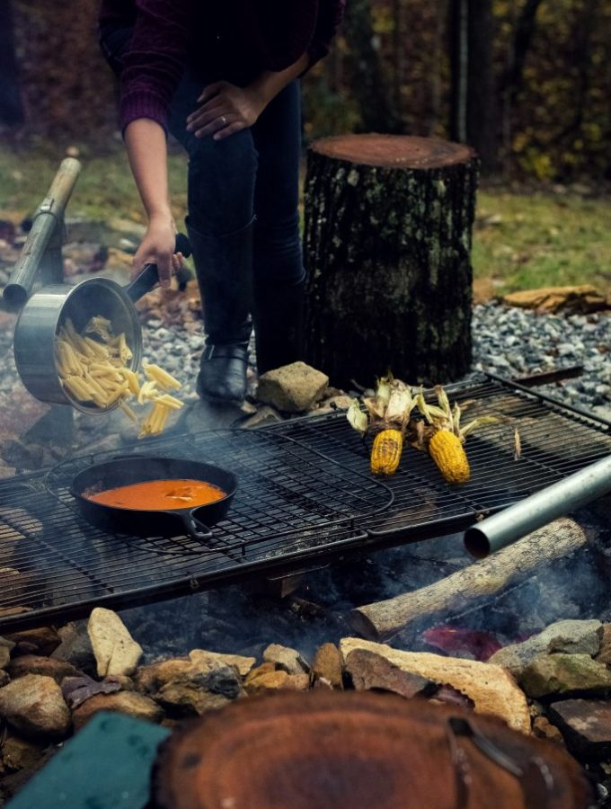 I've been dreaming of this Fall Cookout weekend for months now, and what finally transpired was everything and more. Red pepper pasta with peppers grilled over fire was the fiery lunch that warmed us up instantly!