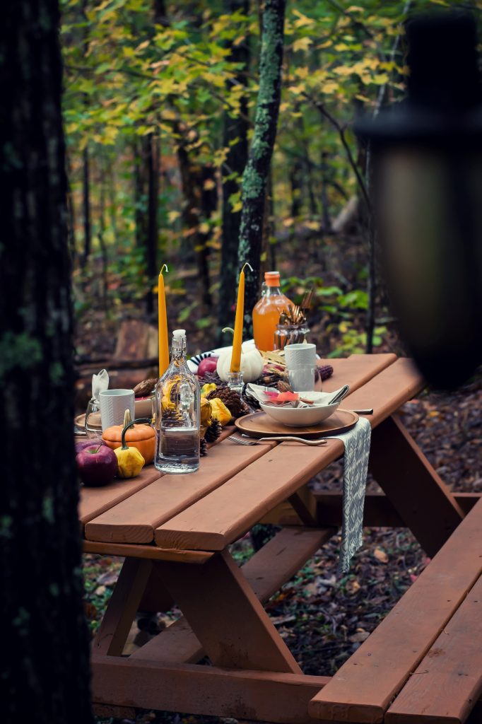 I've been dreaming of this Fall Cookout weekend for months now, and what finally transpired was everything and more. Al fresco dining in the woods, surrounded by the splendor of Fall was just what my husband and I needed to celebrate our anniversary weekend.