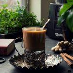 Vegan Masala Vanilla Chai made with freshly homemade Coconut milk, whole spices like cinnamon, cardamom, ginger & flavored with vanilla.