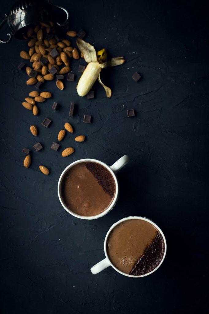 VEGAN Choco Banana Chai Latte - rolling hot chocolate, banana bread & almond milk chai, into one, this will be your favorite winter beverage! #foodphotography #vegan #beverage