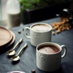 VEGAN Choco Banana Chai Latte - rolling hot chocolate, banana bread & almond milk chai, into one, this will be your favorite winter beverage! #foodphotography #vegan #beverage