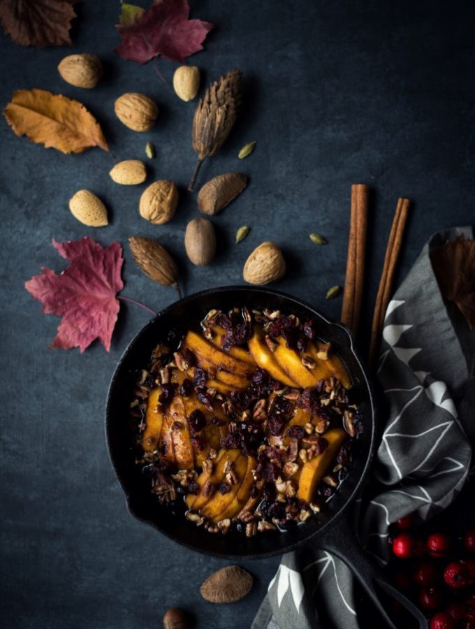 VEGAN and Refined Sugar-free Pear and Apple Tarte Tatin with pecans and cranberries.