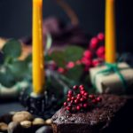 Non-Alcoholic VEGAN Christmas Fruit Cake: soaked in a gingerbread syrup, flavored with a touch of treacle + cacao & dry fruits and nuts - cranberries, dates, raisins, walnuts, cashews and more! #Christmas #Cake #VEGAN #NonAlcoholic #Gingerbread