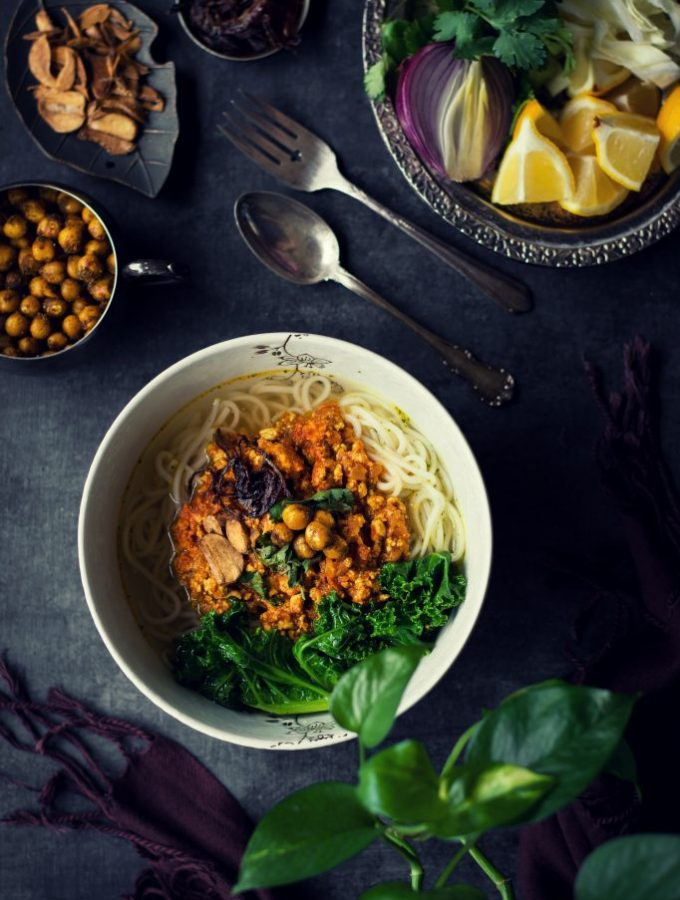 Enjoy Tofu in yet another refreshing form in this Burmese VEGAN Shan Noodles w/ a spicy Tofu curry and bouillon soup base. #plantbased #noodlesoup # lunch #dinner #burmesefood #tofu #dairyfree #meatlessmonday