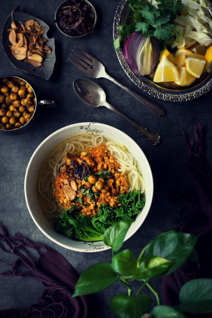 Vegan shan noodles w tofu curry love is in my tummy enjoy tofu in yet another refreshing form in this burmese vegan shan noodles w a forumfinder Images
