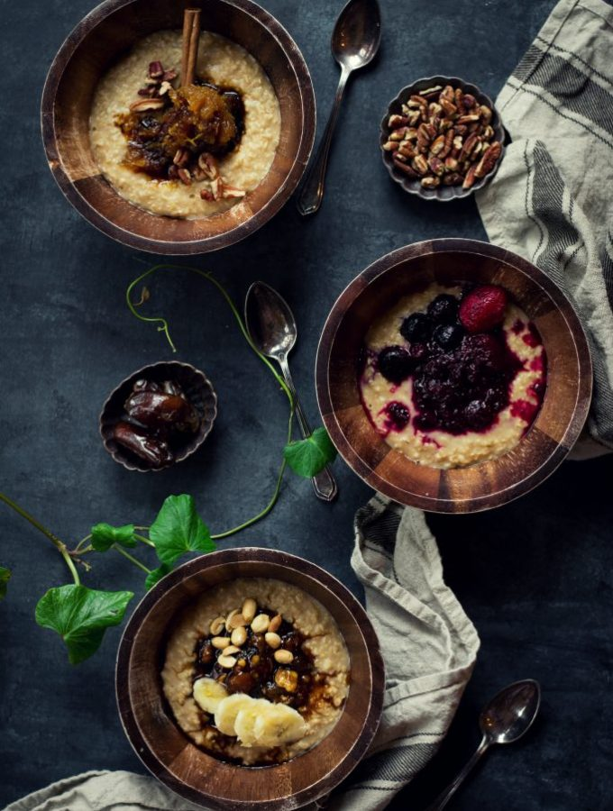 Include pumpkin and beets to your breakfasts with these VEGAN Oatmeal Toppings - Pumpkin Pie | Berry Beet | Banana Date. #vegan #breakfast #foodphotography #oatmeal #beet #banana #dates #jaggery #berries #pumpkin #cinnamon