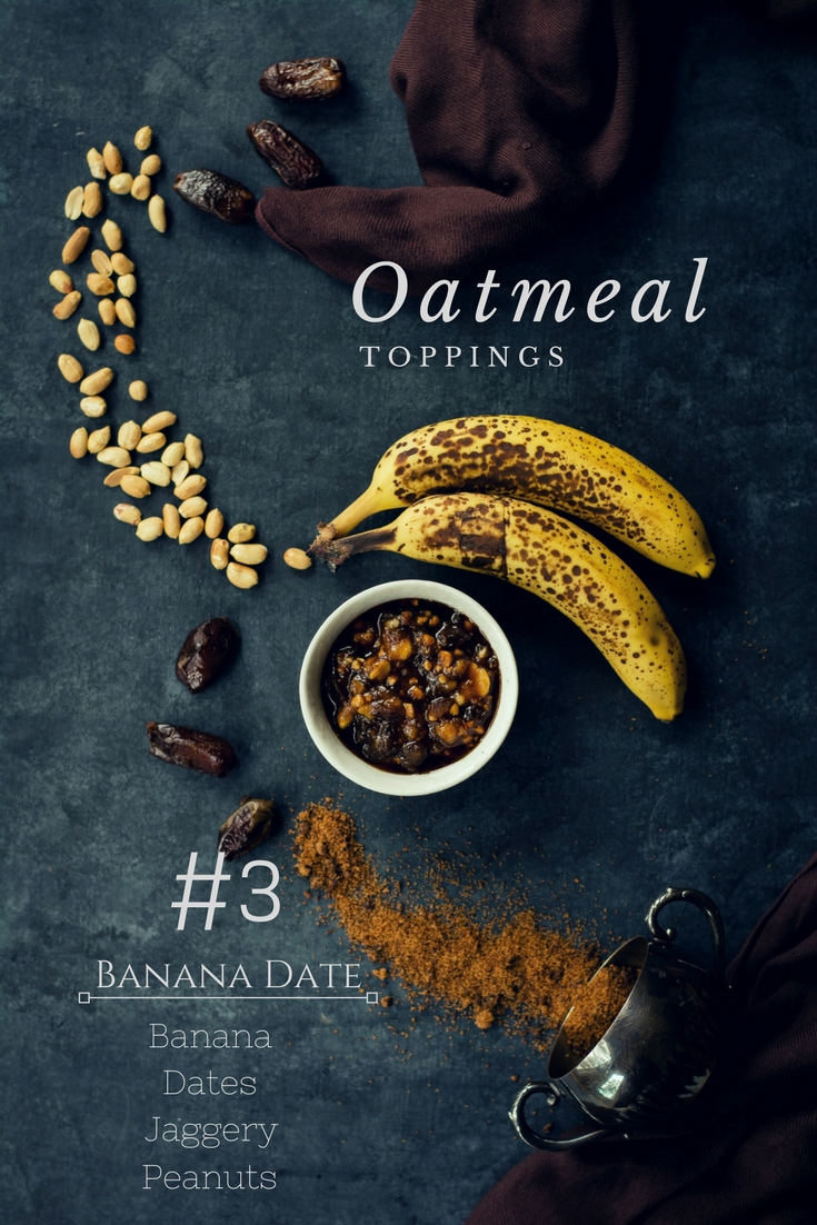 Include veggies to your breakfasts with these VEGAN Oatmeal Toppings - Pumpkin Pie | Berry Beet | Banana Date. #vegan #breakfast #foodphotography #oatmeal #beet #banana #dates #jaggery #berries #pumpkin #cinnamon