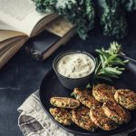 BAKED Kale Vada - Kale Lentil Fritters - tastes just as delicious and crispy as the deep-fried version. The perfect healthyish indulgence. #foodphotography #vegan #glutenfree #kale #lentils #fritters #bakednotfried #snack #teatime #savory