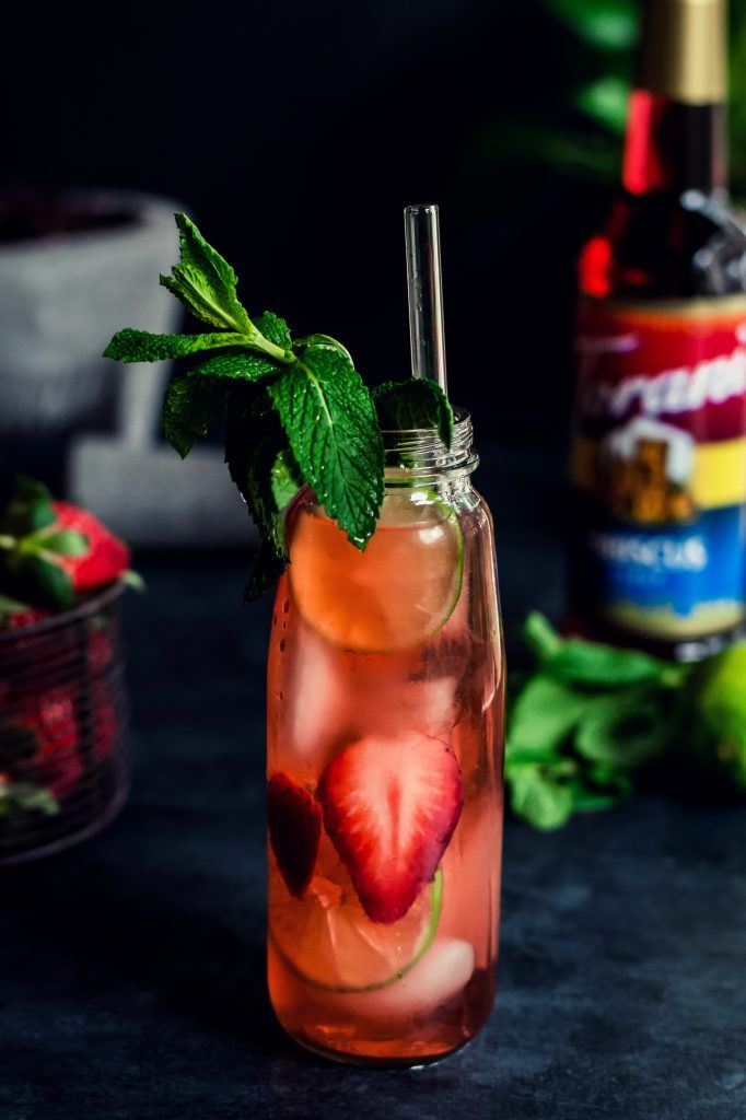 This Strawberry Hibiscus Iced Tea is the stuff spring dreams are made of - light, airy and absolutely refreshing when served chilled. #AToraniBrunch #springentertaining #nonalcoholic #brunch #drinks