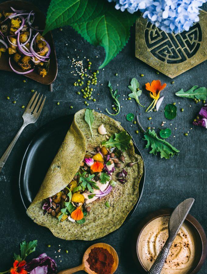 Savory Mung Bean Quinoa Crepes