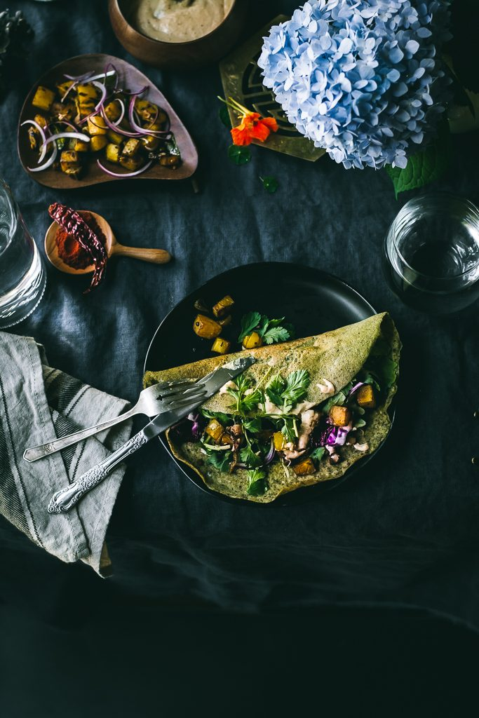 Mung Bean Quinoa Crepes - Whole Mung Beans and Quinoa Crepes flavored with ginger, green chillies and cumin make the most exquisite protein-rich crepes. #vegan #glutenfree