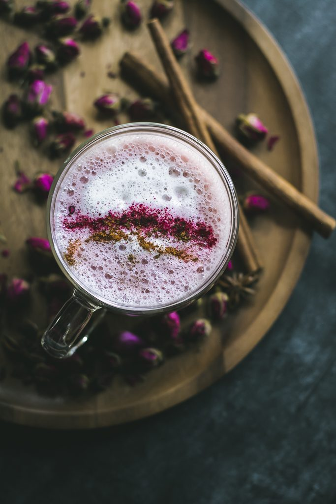 VEGAN Spiced Beet Chai Latte - flavored with Torani Chai Tea Spice Syrup + Rose water, it is a fragrant, soothing drink for Fall! #PumpkinSoBasic #foodphotography #foodstyling #beets #chailatte #chai #spiced