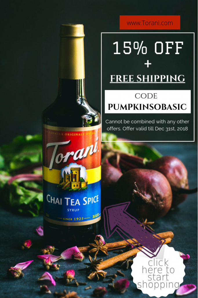 Visit shop.torani.com & receive 15% OFF + FREE SHIPPING with this coupon code: PUMPKINSOBASIC. Cannot be combined with any other offers. Expires: 12/31/2018