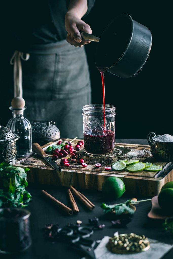 Cranberry Hibiscus Syrup for a Simple Cranberry Hibiscus Tea