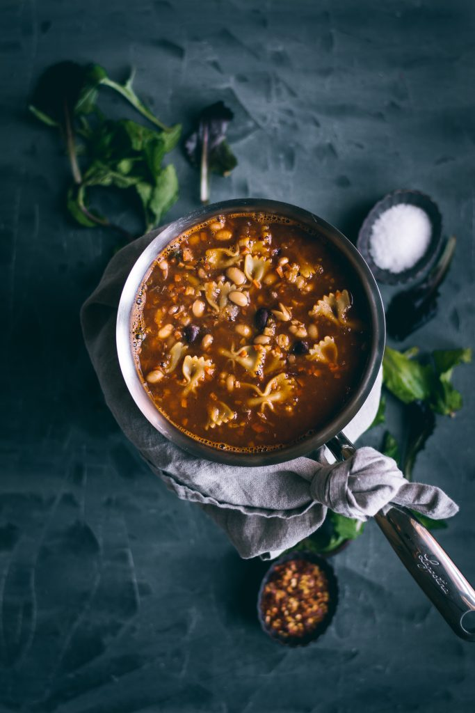 Curried Pasta e Fagioli in a saucepan